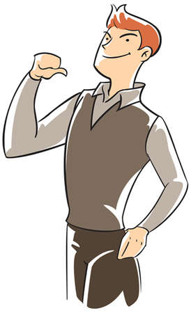 pointing: Confidence executive pointing himself with thumb Illustration