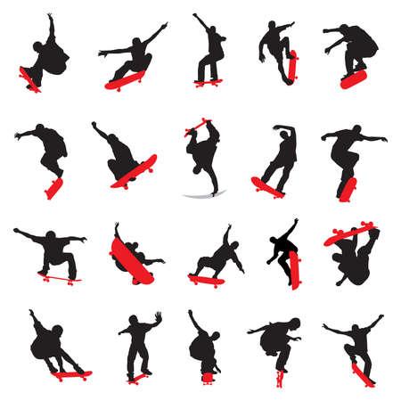 skateboarding tricks: 20 skateboarders silhouette