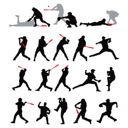 pitcher: 21 detail baseball poses in silhouette Illustration