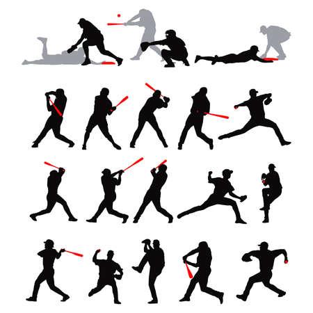 catcher baseball: pose de baseball de d�tail 21 en silhouette
