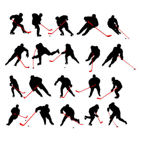 glow stick: 20 detail ice hockey poses in silhouette Illustration