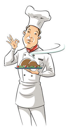 frontview: illustration of a chef holding delicious dish