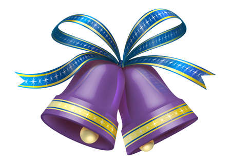 Christmas Bells in purple colour  Stock Photo