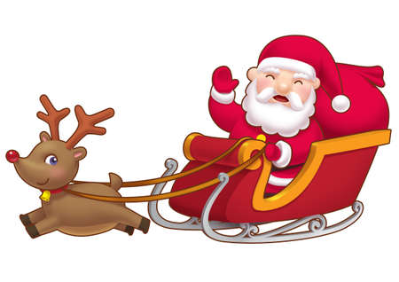 Cute little Santa sleight   Stock Photo - 8371203