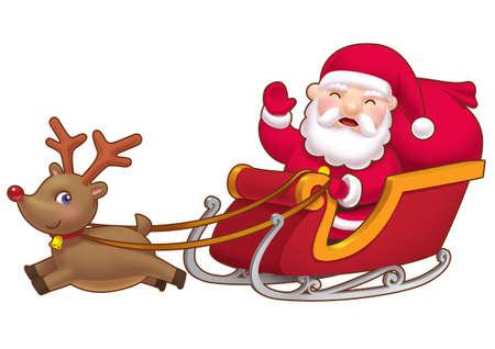 Cute little Santa sleight   Stock Photo - 8371203