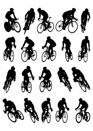 bicycle silhouette: 20 detail racing bicycle silhouette  Illustration