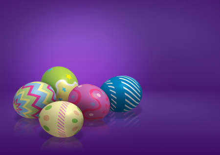 colorful easter eggs on purple background  photo