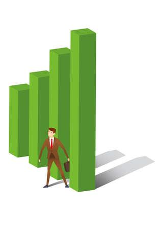 uptrend: Executive standing between uptrend bar