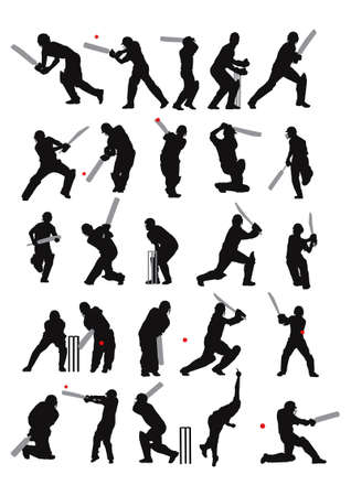 25 detail cricket poses in silhouette  Vector