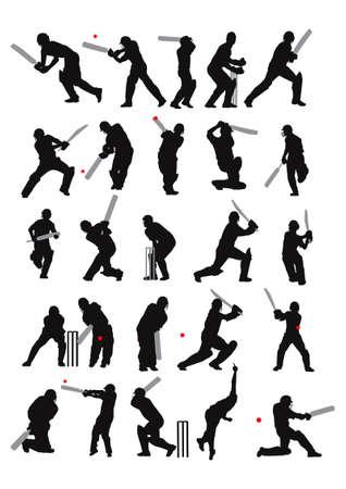 cricket: 25 dettaglio Grillo pose in sagoma  Vettoriali