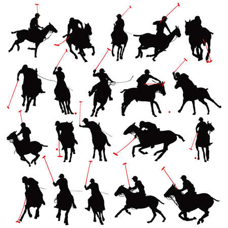 20 details polo player in isolated silhouette   Vector