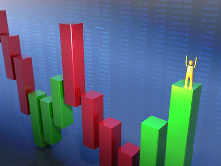 bearish market: Golden stickman standing in a green bar Stock Photo