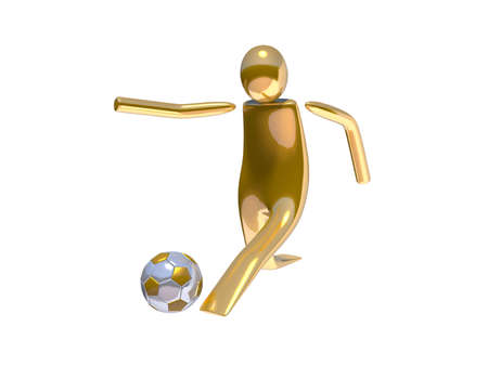 Golden stickman soccer player shooting angle 01 photo