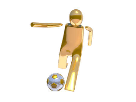 Golden stickman soccer player shooting angle 02 photo