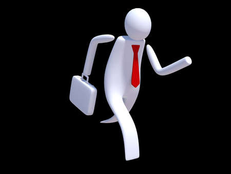 stickman: Stickman executive running Stock Photo