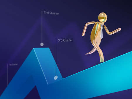 bearish market: Golden stickman running on a line chart Stock Photo