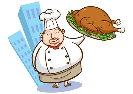 illustration of a chef holding delicious dish Vector