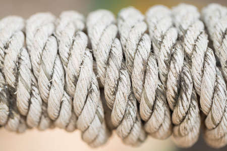 helical: Nylon rope tied into a spiral in the park. Stock Photo