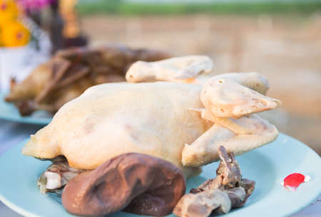 Boiled chicken in dish on the table.