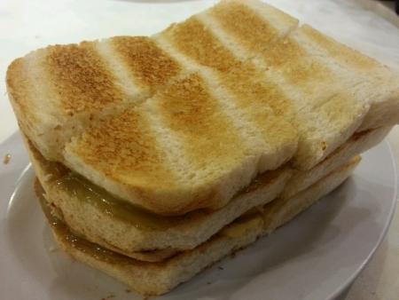kopitiam: Kaya butter toast bread  Stock Photo