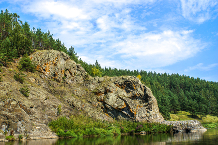 ural: A rock on the Bank of the Ural river Iset Stock Photo