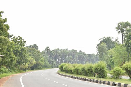 Empty highway road turning right, green palm tree on the roadside and small trees on the divider