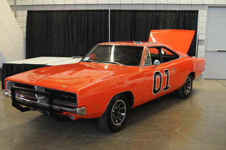 The General Lee being shown at the world of wheels auto show by its current owner