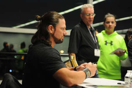 autograph: WWE wrestler and world champion AJ Styles makes a guest appearance at world of wheels were he signed autographs and posed for pictures with fans Editorial