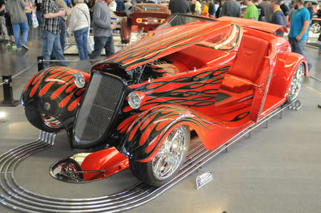 1933 Ford Roadster which has been customized and painted in a retro style