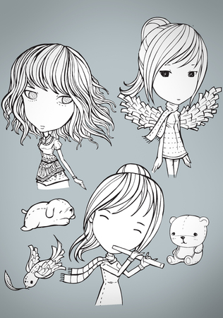 cute: cute girls Illustration