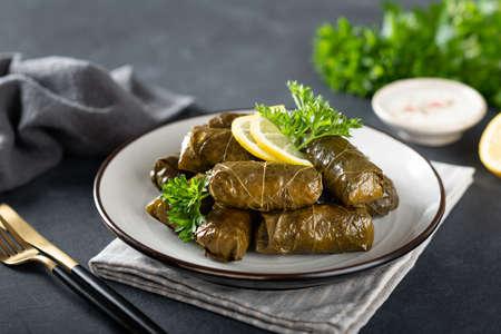Dolma on a dark background , traditional Caucasian, Turkish and Greek cuisine Reklamní fotografie - 154077008
