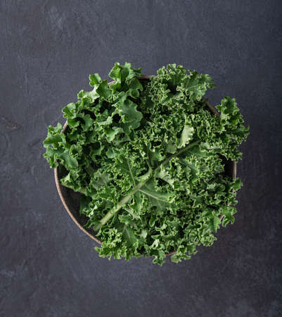 kale bowl on a dark background, top view, place for text