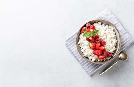 cottage cheese bowl with berries on a light background, top view, copy space