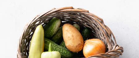 fresh organic vegetables in the basket, healthy food concept, copy space