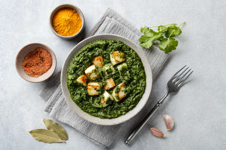 Palak Paneer indian traditional food on concrete background, top view