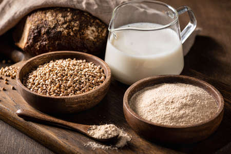 Buckwheat products, cereals, flour and milk, gluten-free.