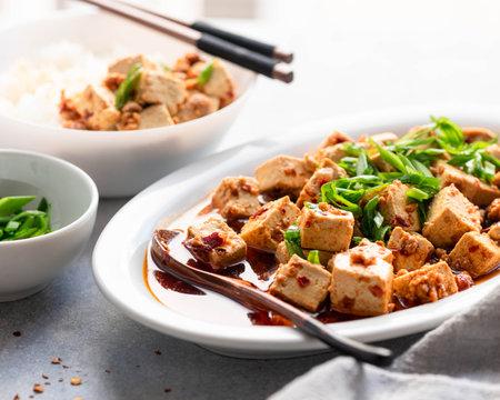 Chili Tofu, traditional chinese dish, selective focus