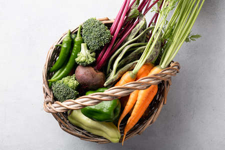 fresh organic vegetables in the basket, healthy food concept