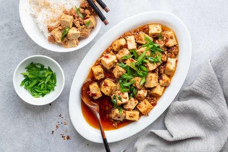 Chili Tofu, traditional chinese dish, top view Reklamní fotografie