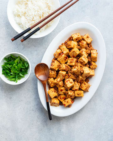 Mapo Tofu, sichuan cuisine, chinese food, top view