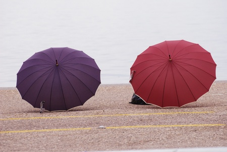 violet and red umbrellas in Thessaloniki photo