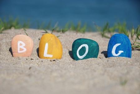 mot blog et jeu de galets color�s