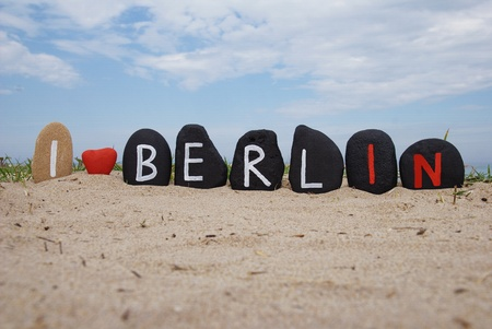 I love Berlin, stones composition on the sand Stock Photo