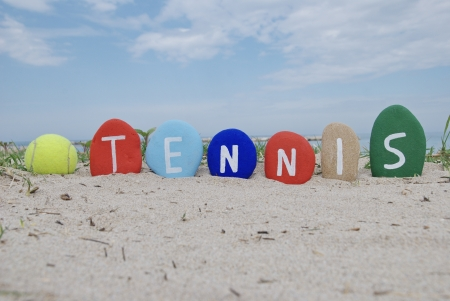 I love tennis, yellow ball and name on colourful stones
