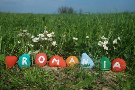 J'aime la Roumanie avec la nature de fond Banque d'images