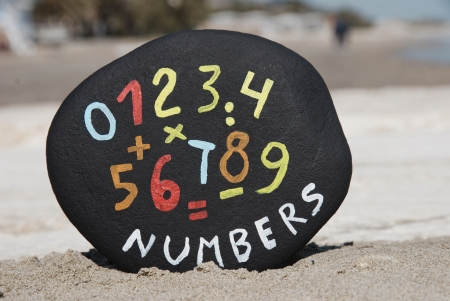 set of numbers and characters on black stone photo
