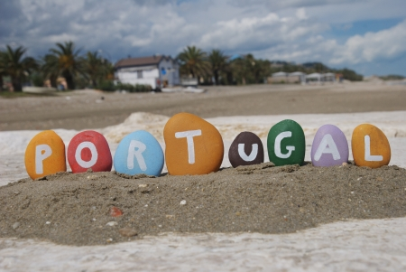 Portugal, word on colourful pebbles Stock Photo