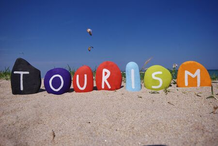 Tourism, travel for leisure of business on stones Stock Photo