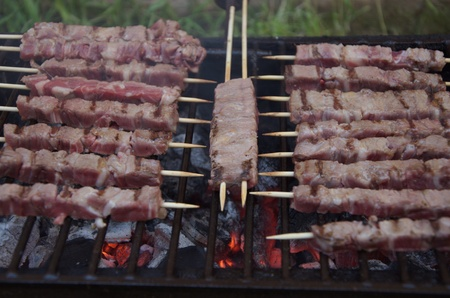 Arrosticini are a traditional dish from the Italian region of Abruzzo and are typically made from castrated sheep s meat photo