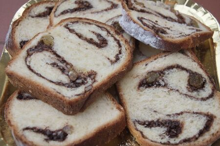 Slices of traditional cozonac, sweet bread